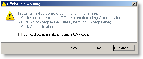 Freezing requires external compilation