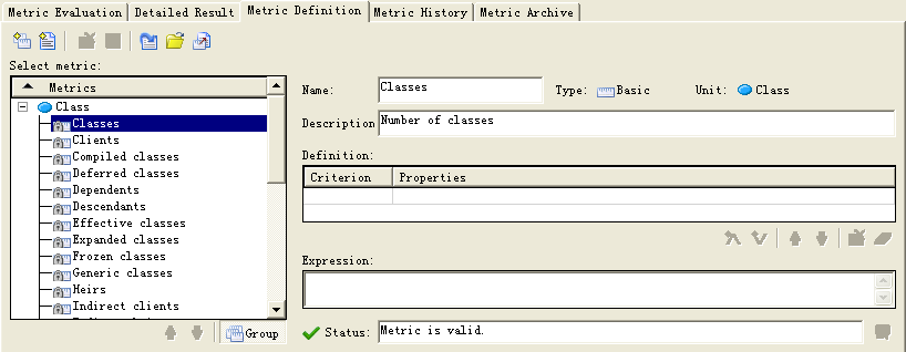 Metric definition panel