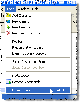 Subversion update command in the tools menu