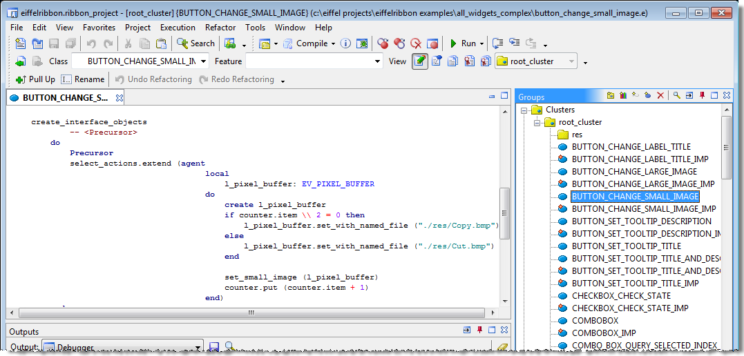 An EiffelRibbon application in EiffelStudio.